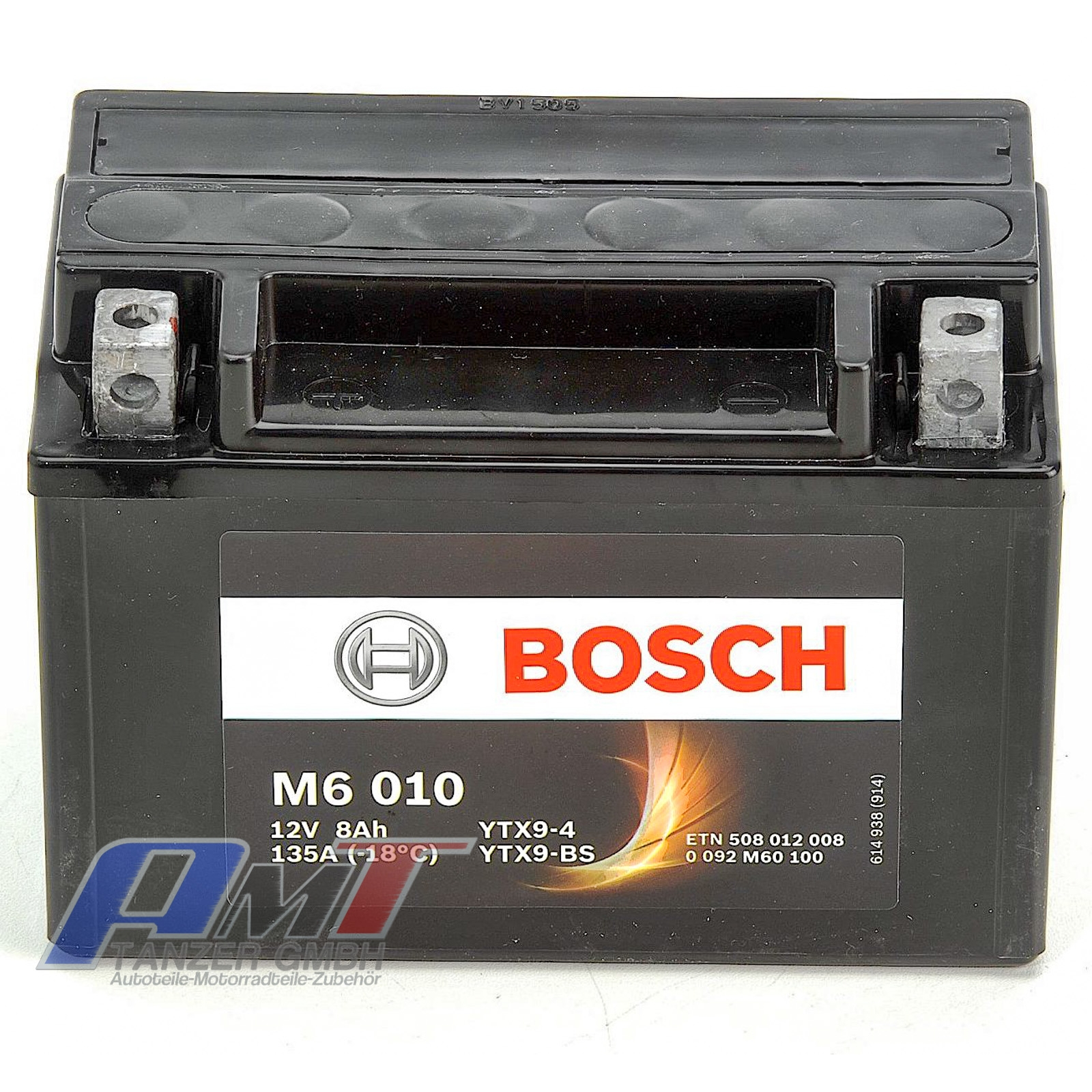 bosch ytx9 bs motorrad batterie m6 8ah 12v 0092m60100. Black Bedroom Furniture Sets. Home Design Ideas